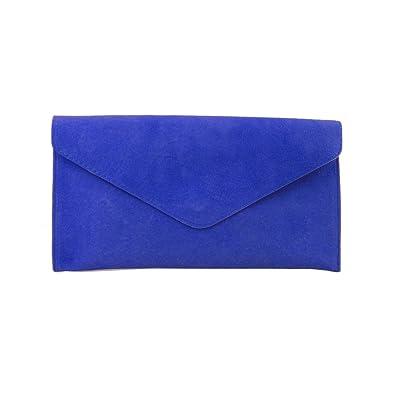 Ladies Cobalt Blue Suede Envelope Evening Clutch Bag: Amazon.co.uk ...