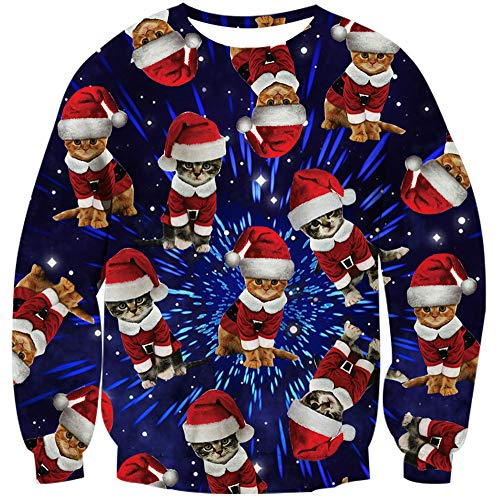 Loveternal Men Women Christmas Cat Pullover Sweatshirts Cute