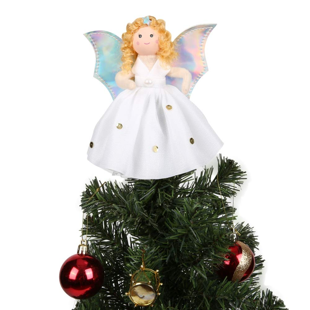 Cocohot 7 Inch Christmas Tree Topper Silver Wings White Dress Shiny Angel Treetop Xmas Tree Ornament for Christmas Decorations (Angel)