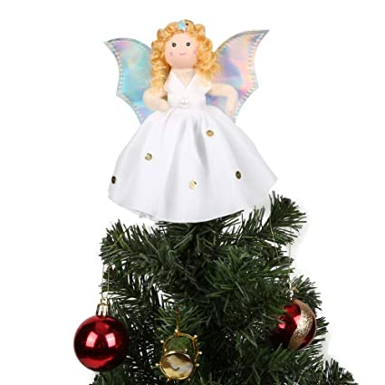 Amazon Com Cocohot 7 Inch Christmas Tree Topper Silver Wings White