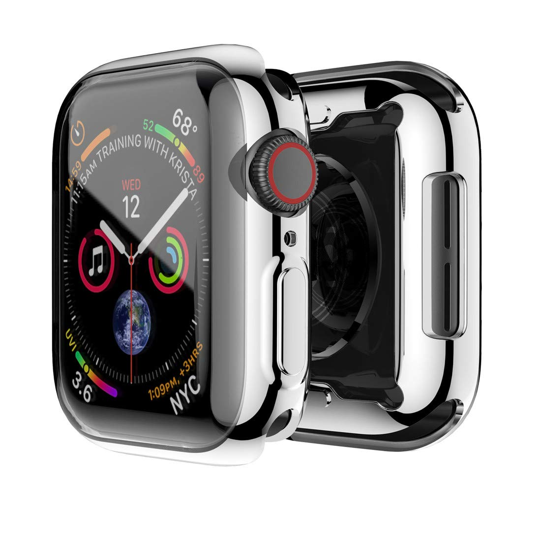 Hankn for Apple Watch Series 4 Case, Soft TPU 360° Full Around Smartwatch Screen Protectors Shockproof Protective Slim HD Bumper Cover for Apple ...