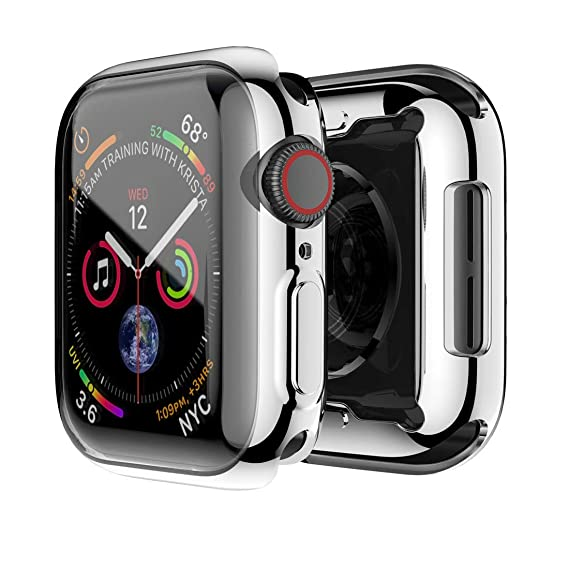 Compatible with Apple Watch Case Series 4, Soft TPU 360° Full Around All-in-One Smartwatch Screen Protectors Shockproof Protective Slim HD Bumper ...