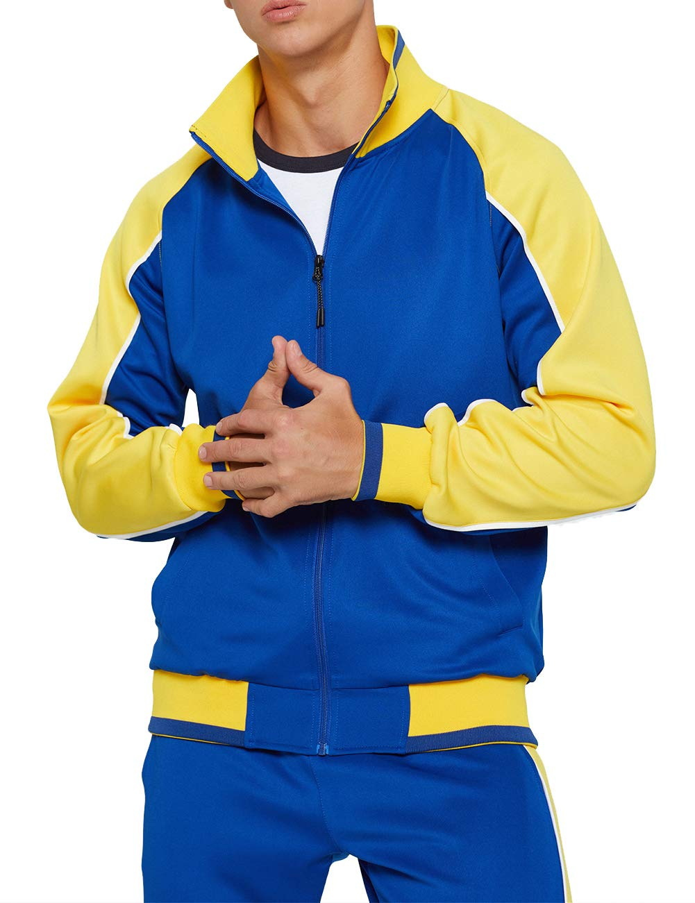 Men's Activewear Full Zip Warm Tracksuit Sports Set Casual Sweat Suit, Blue-S by DUOFIER