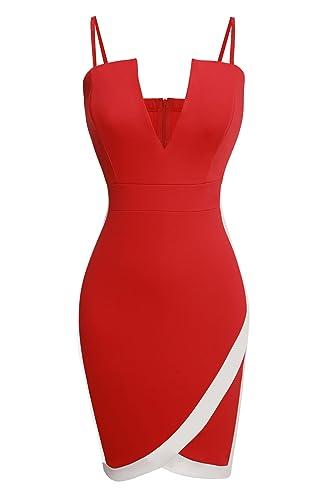 Zeagoo Women Sexy Spaghetti Strap Plunging V Neck Sheath Bodycon Mini Dress