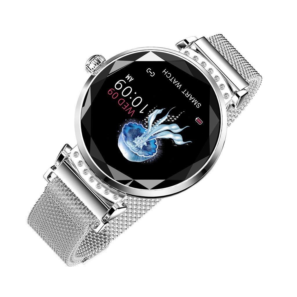 Cobcob Women's Smart Watch 2019 Sport Fitness Waterproof Ladies Smart Bracelet Wristwatches Blood Pressure Activity Tracking Gift for Women (Silver)