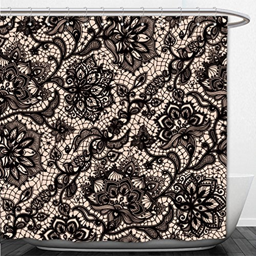 Interestlee Shower Curtain abstract seamless lace pattern with flowers and butterflies infinitely wallpaper decoration 346753226