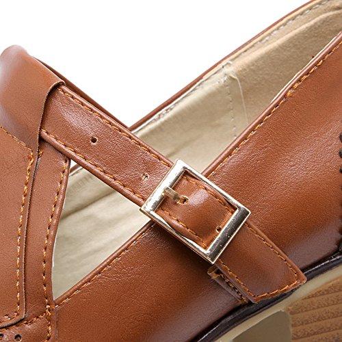AgooLar Damen Mittler Absatz Rein Schnalle Weiches Material Rund Zehe Pumps Schuhe Braun
