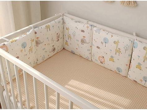 Jiyaru 6pcs Cot Bumper Breathable Baby Bedding Bumpers with Tiebacks Crib Bumper Safer Baby Protect Pads Plaid