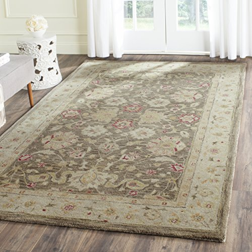 Safavieh Antiquities Collection AT853A Handmade Traditional Oriental Olive Grey and Beige Wool Area Rug (4' x 6')