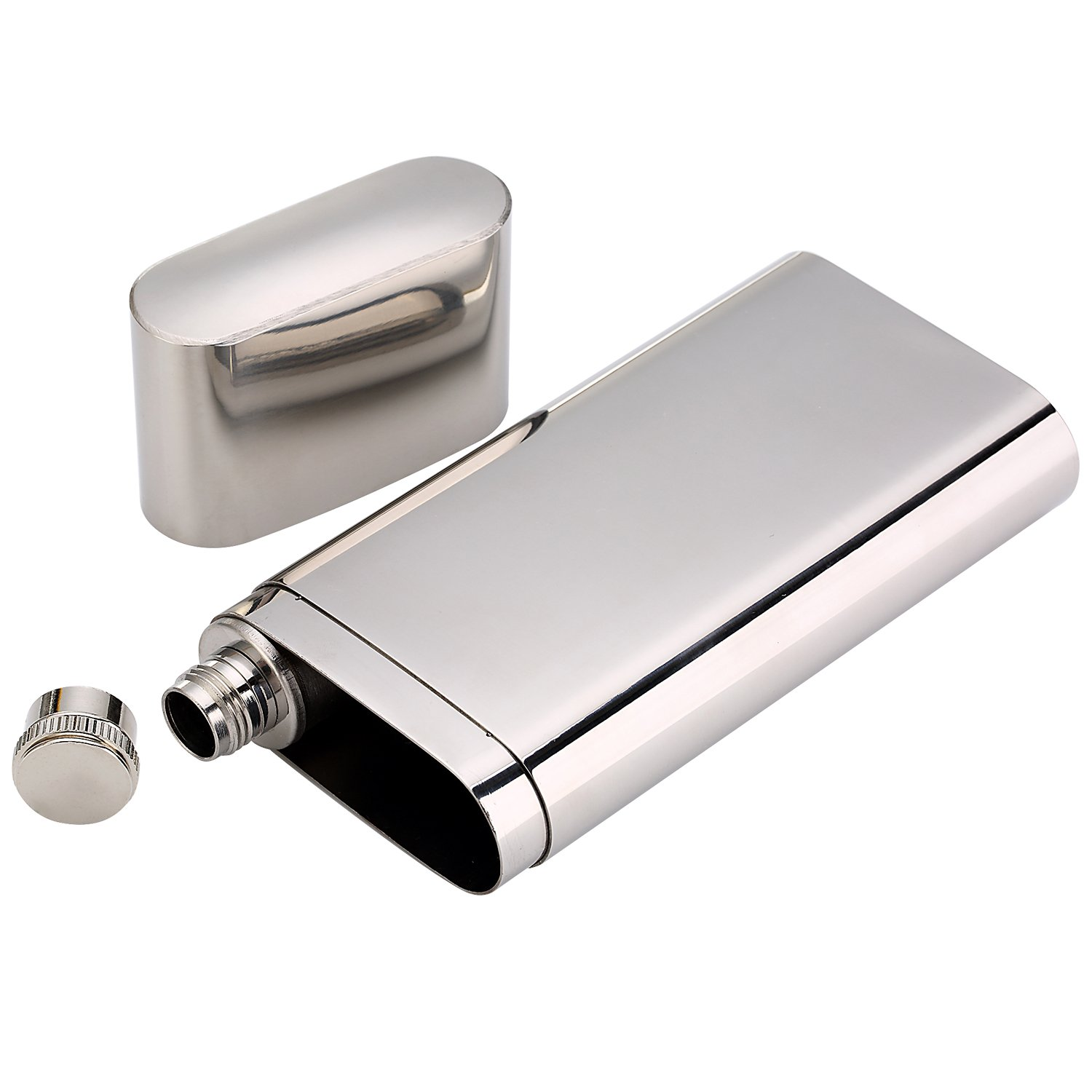 Stainless Steel Chilling Rocks / Stones (8) + Dual Cigar Flask (1) [Gift Set] + Funnel (1) + Tongs (1) [FDA Approved] by YazyCraft (Image #5)