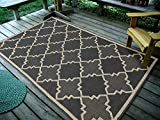 Cheap Furnish my Place Contemporary Geometric Trellis, Charcoal Indoor and Outdoor Area Rug, Easy to Clean, UV Protected/Fade Resistant