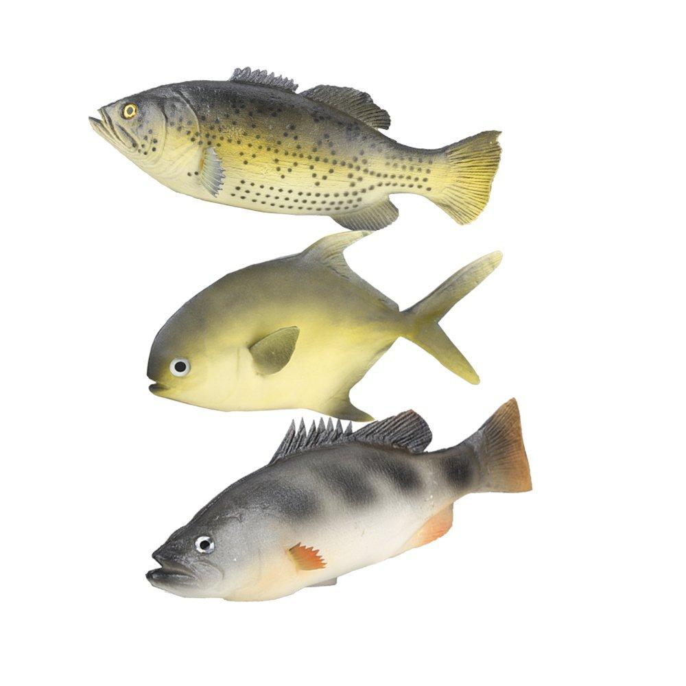 ZUINIUBI 3pcs Simulated Animal Fish Set Realistic Fish Model Playset Lifelike Fake Fish Market Display Kids Toy Kitchen Decoration Photography props (3pcs Simulated Animal Fish Set B)