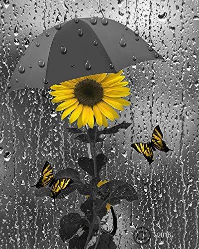 Yellow Gray Bathroom Wall Art Sunflowers Butterflies Import It All