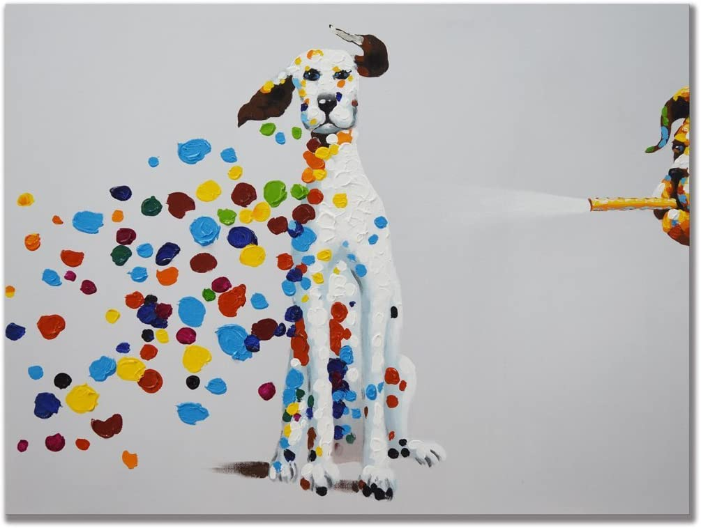 Amazon Com Uac Wall Arts 100 Hand Painted 3d Mischievous Dogs Blowing Bubbles Funny Art Painting On Canvas Wall Art Funny Animal Oil Paintings Picture Colorful Dogs Paintings For Home Decor 24x36 Inch