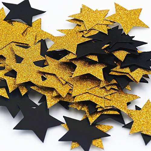 Yiwu Bode Glitter Black and Gold Five Stars Paper Decorations Confetti,Birthday Party, Wedding Party Decor and Table Decor, 1.2'' in Diameter (Gold + Black Stars,200pc) -
