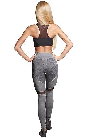 Carolilly Pantalon de Sport Femme Yoga Jogging Fitness Gym Pilates avec  Coeur Sexy Noir Gris  Amazon.fr  Vêtements et accessoires 64fded30cd28