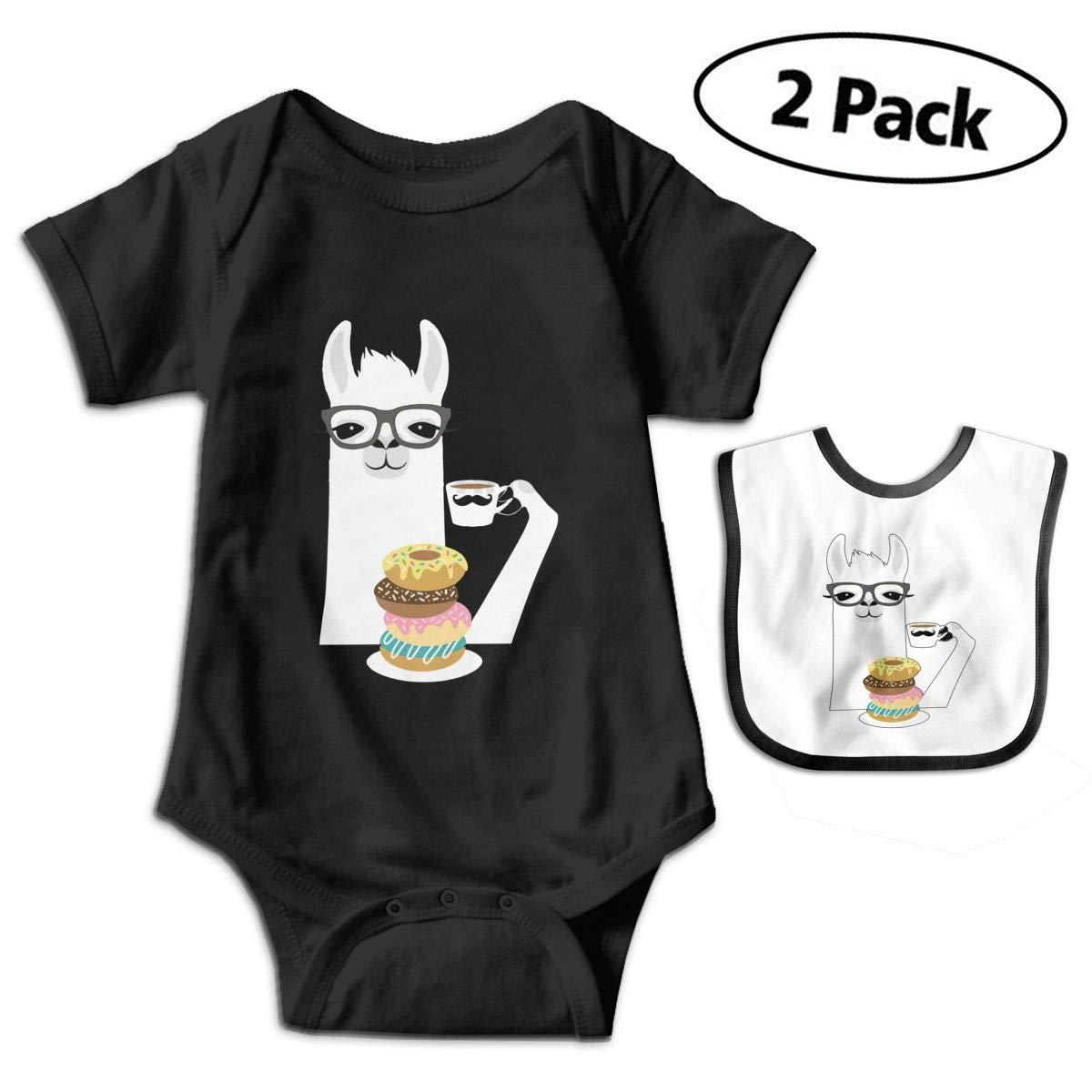 Harataki Llama Donut Unisex-Baby Newborn Short-Sleeve Bodysuit Rompers