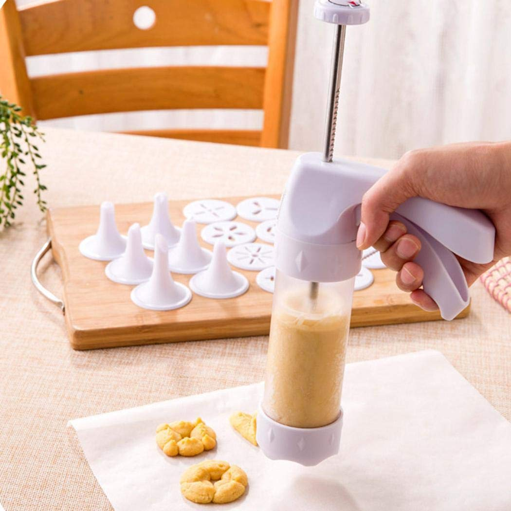 Baorin 19Pcs/Set Home Kitchen Baking Dessert Plus Cake Decorating Tool Cookie Presses (1Cake Decorating Gun, 6 Nozzles, 12 Molds)