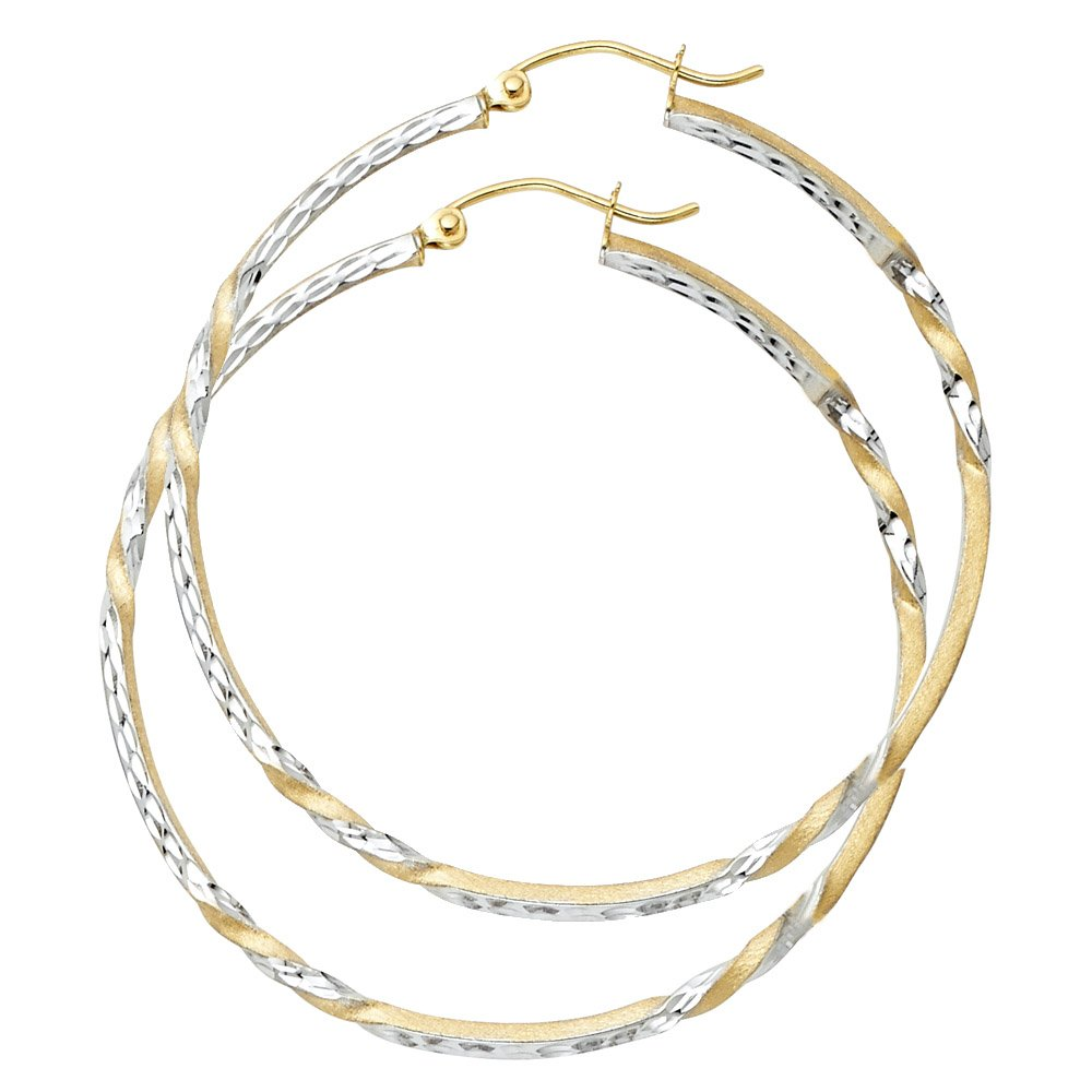 Womens Solid 14K Yellow Gold Curled Hoop Earrings