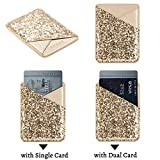 Card Holder for Back of Phone,Cell Phone Wallet Sticker,Adhesive Stick on Pocket for Credit Card,Business Card,ID,Cash,Fit for Almost All Smartphones & Cases Glitter