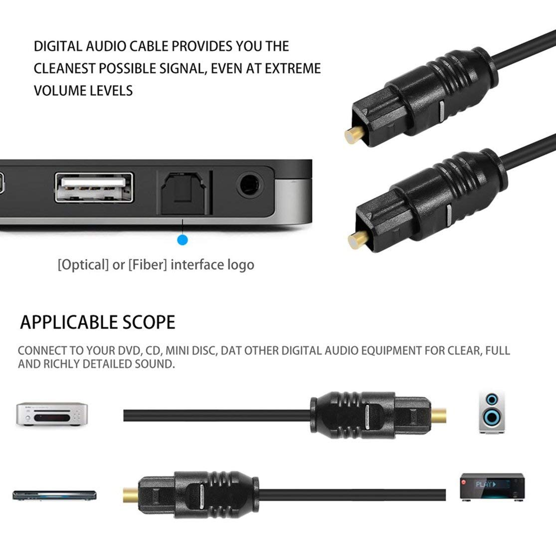 Cables de Audio Digital Cable de conexi/ón Cable de Audio de Fibra /óptica de Fibra /óptica de Fibra /óptica de Fibra /óptica de Fibra /óptica de Fibra /óptica