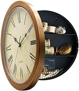 Yardwe Wall Clock with Hidden Safe Clock Diversion Safe Jewelry Money Safe (Bronze)