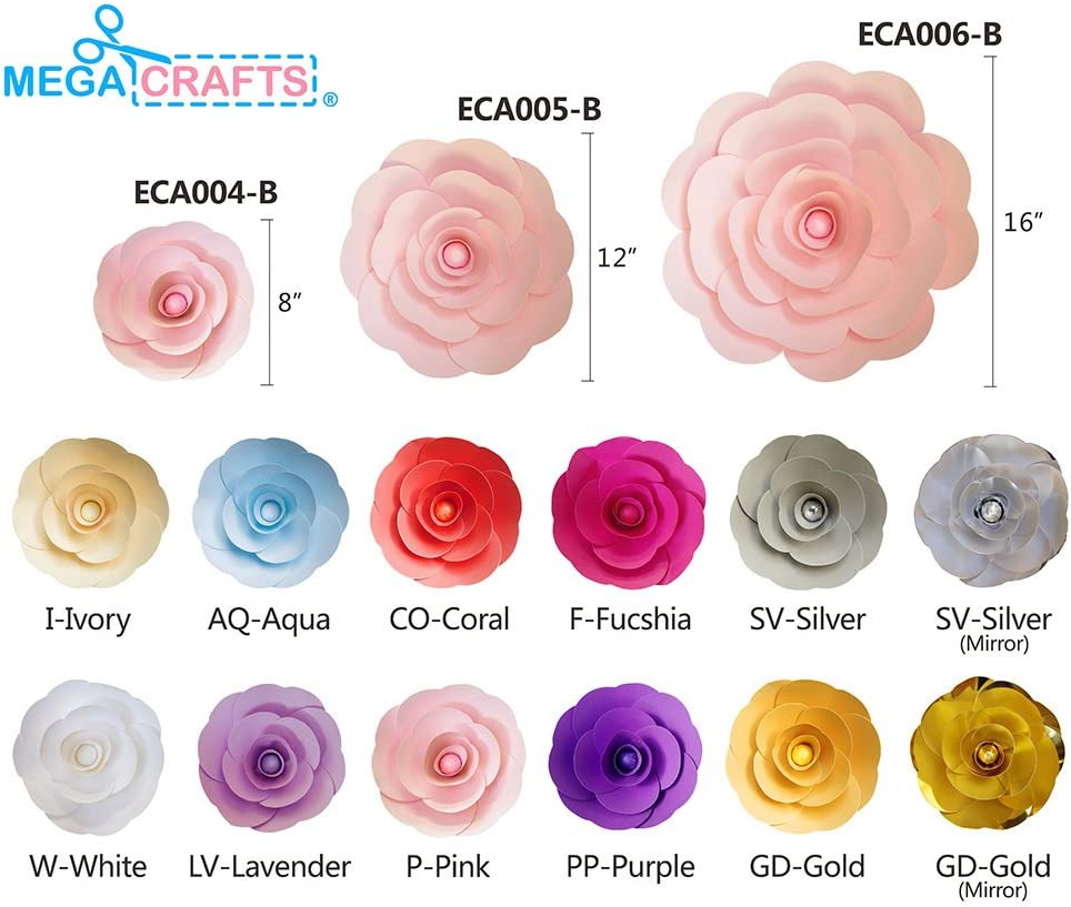 Table Centerpieces Event Flower Planning Garlands /& Parties Home D/écor Picture /& Backdrop Wall Decoration Mega Crafts 8 Inch Handmade Paper Flower in Aqua Wedding Bouquets /& Receptions