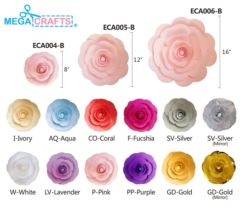 Garlands /& Parties Backdrop Wall Decoration Wedding Bouquets /& Receptions Table Centerpieces For Home D/écor Mega Crafts 16 Handmade Paper Flower in White Event Flower Planning