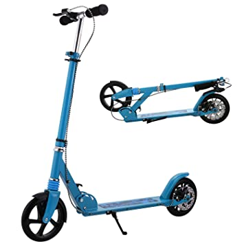 Profun Patinete Plegable Scooter para Adultos con Manillar Altura Ajustable Ruedas Grande 20CM con Freno de Mano Delantero y Trasero (Azul): Amazon.es: ...