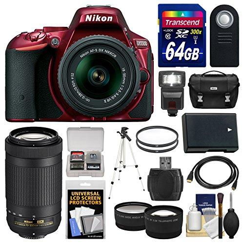 nikon-d5500-wi-fi-digital-slr-camera-18-55mm-vr-dx-ii-af-s-red-with-70-300mm-af-p-lens-64gb-card-cas
