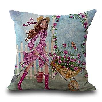 Amazon.com: YJ oso dibujos animados flor chica impresión ...