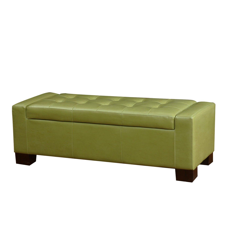Super Asense Brown Bonded Leather Rectangular Tufted Storage Ottoman Footstool 51X19 Apple Green 3 Day Discount Spiritservingveterans Wood Chair Design Ideas Spiritservingveteransorg