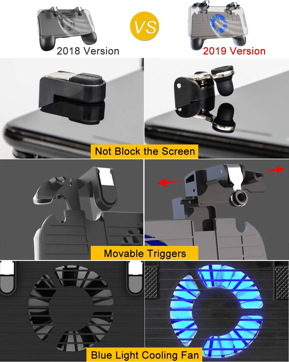 Mobile Controller with Power Bank Cooling Fan for Fortnite Mobile Controller L1R1 Game Trigger Joystick Gamepad Grip Remote for 4-6.5'' Android IOS Phone【Latest Version Blue Light 4000mAh】 by YOBWIN (Image #6)
