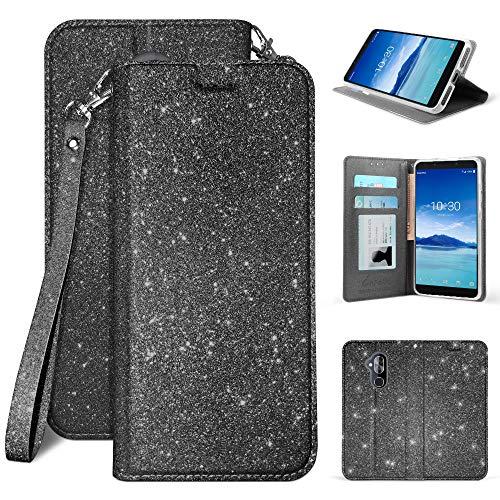 for Alcatel 7 / Revvl 2 Plus/ ACTL6062 [2018 Release for Metro PCS, etc] Premium Luxury Sparkle Bling Glitter Folio Credit Card Slot Wallet Case Wrist Strap & Magnetic Closure ()