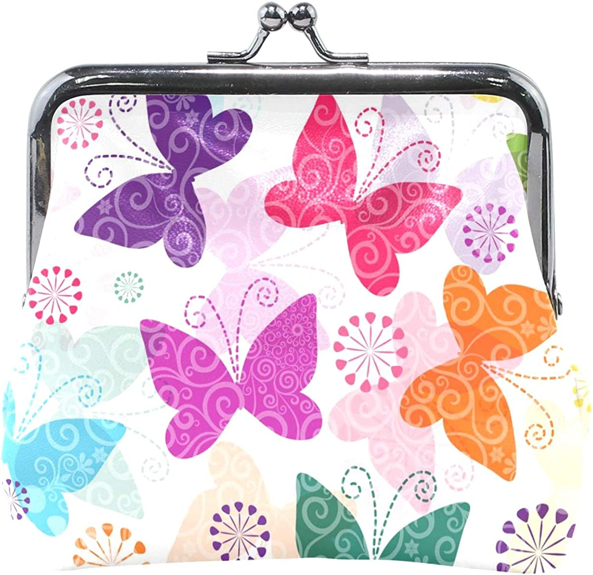 Women Wallet Purse Painting Colurful Butterfly Clutch Bag Leather