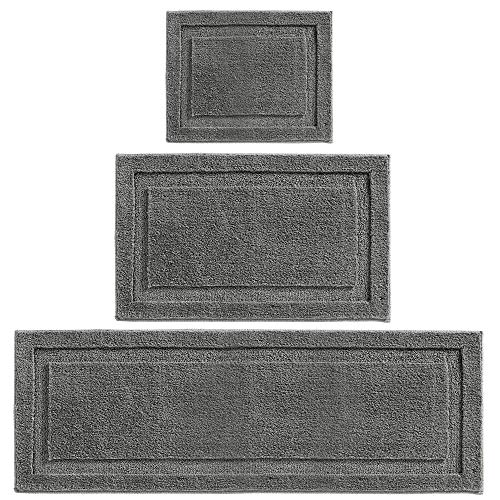 mDesign Soft Microfiber Polyester Spa Rugs for Bathroom Vanity, Tub/Shower - Water Absorbent, Machine Washable - Includes Plush Non-Slip Rectangular Accent Mats in 3 Sizes - Set of 3 - Charcoal Gray (For Mat Bath Micro Toilet)