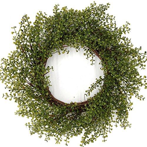 Idyllic 22 Inch Spring Wreath Artificial Eucalyptus Leaf Garland Door Wreath on a Natural Twig Base (Spring Green) by Idyllic