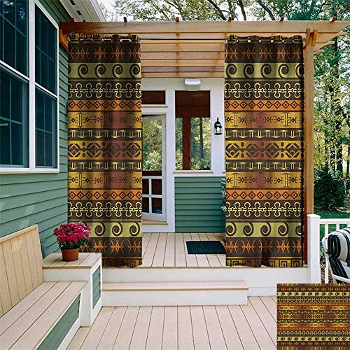 leinuoyi Zambia, Outdoor Curtain Ends, Ethnic Ornamental Abstract Heritage Traditional Ceremony Ritual Image, Outdoor Patio Curtains W96 x L108 Inch Gold Dark Brown Orange