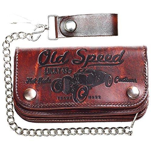 """Men's Lucky 13 Old Speed Embossed 6"""" Chain Wallet (Rat Wallet)"""