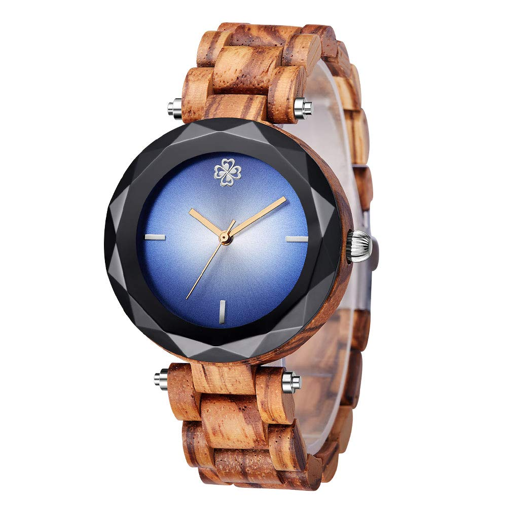 SIHAIXIN Natural Wood Watches for Women Blue Dail 2018 Top Luxury Brand Ladies Quartz Watch Creative Female Clock Christmas Gifts