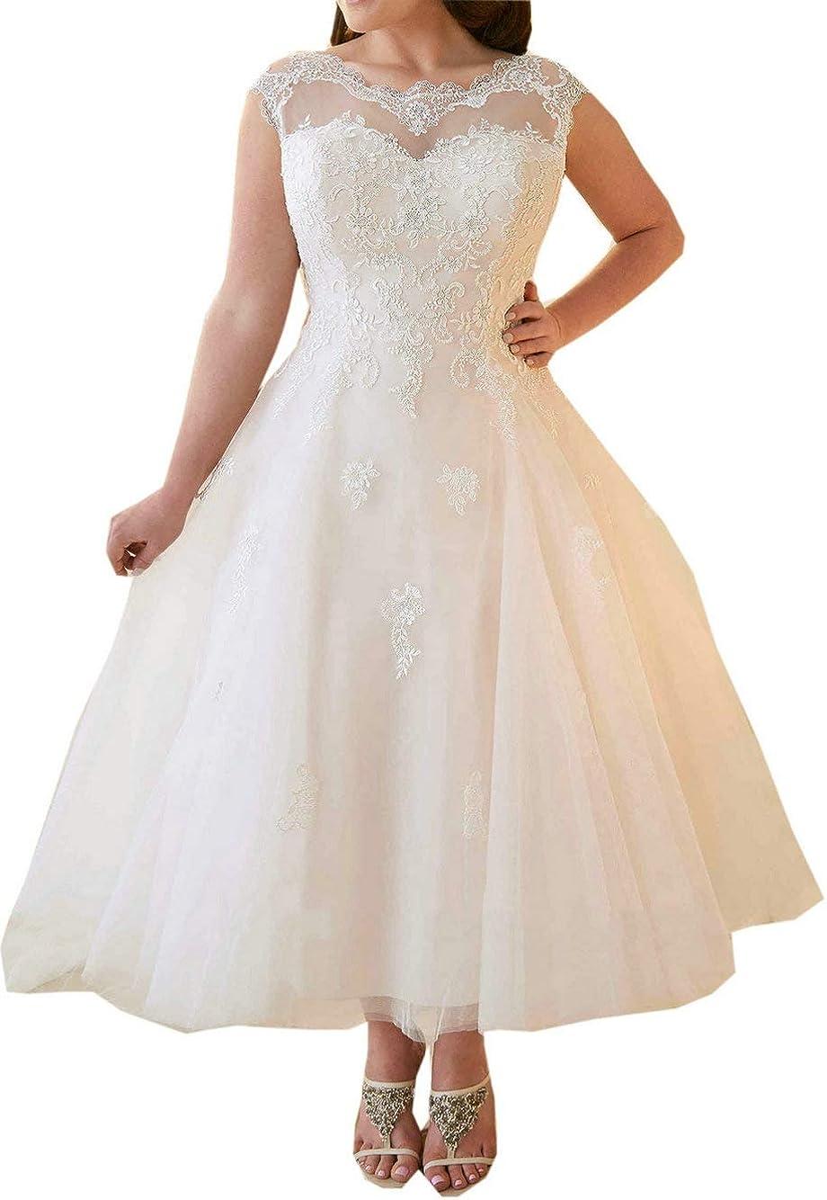 Hochzeitskleider Damen Brautkleid Brautmoden Tüll Spitze Knöchellang A Linie