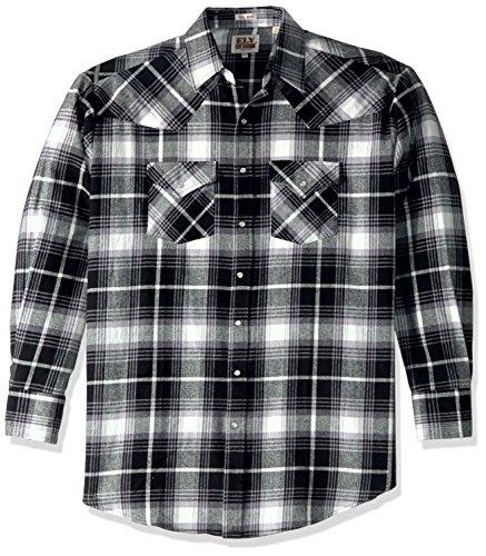 Ely & Walker Men's Size Long Sleeve Brawny Flannel Shirt, Black, 2X-Large Tall