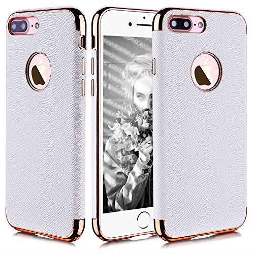 Joseche Premium Leather Coated iPhone 7 Plus Case Excellent Protection Textured Design Metallic Plate iPhone 7 Plus- 5.5in (White)