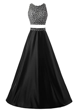 Callmelady Two Piece Prom Dresses Long For Women Evening & Cocktail Party (Black, ...