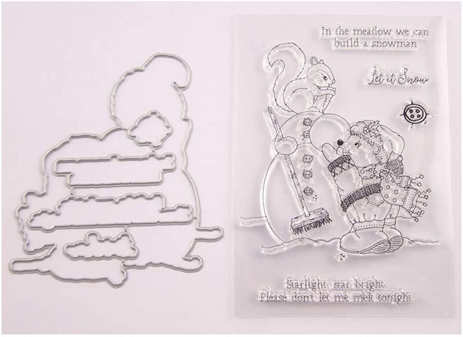 4.1 by 5.8 Inch Polar Bear Hedgehog Bird Seasons Greetings Stamps and Die Set for Card Making and Scrapbooking T1516