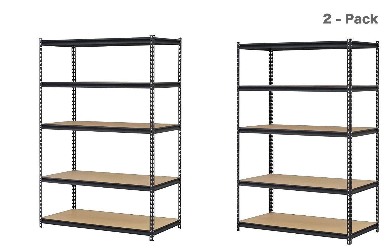 Pack of 2 Capacity 4000 lb 5 Adjustable Shelves 72 Height x 48 Width x 18 Depth EDSAL URWM184872BK Black Steel Storage Rack