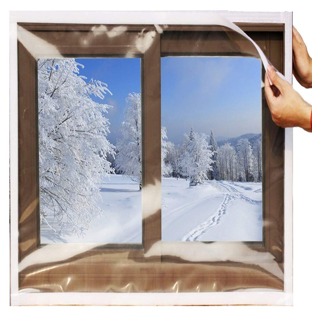 SES.CO Reusable Transparent Indoor Window Insulation Kit,Heavy Duty Weatherproof Insulator for Summer & Winter,48''x63'' by SES.CO