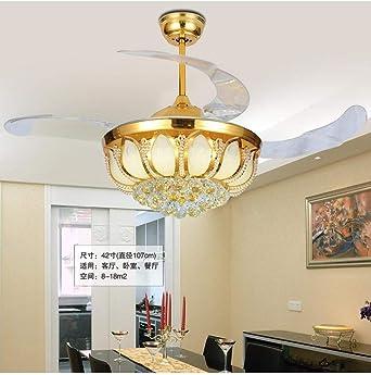 Ventilador de techo regulable con 4 aspas retráctiles, diseño de flor de loto, pantalla de cristal