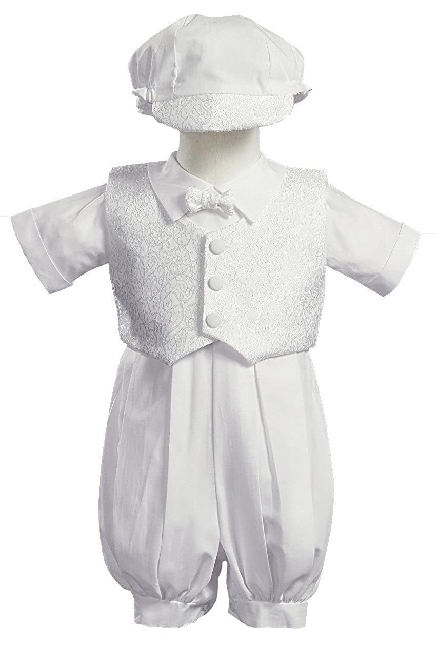 Baby Boy White Poly Cotton Christening Baptism Romper Set with Vest and Hat
