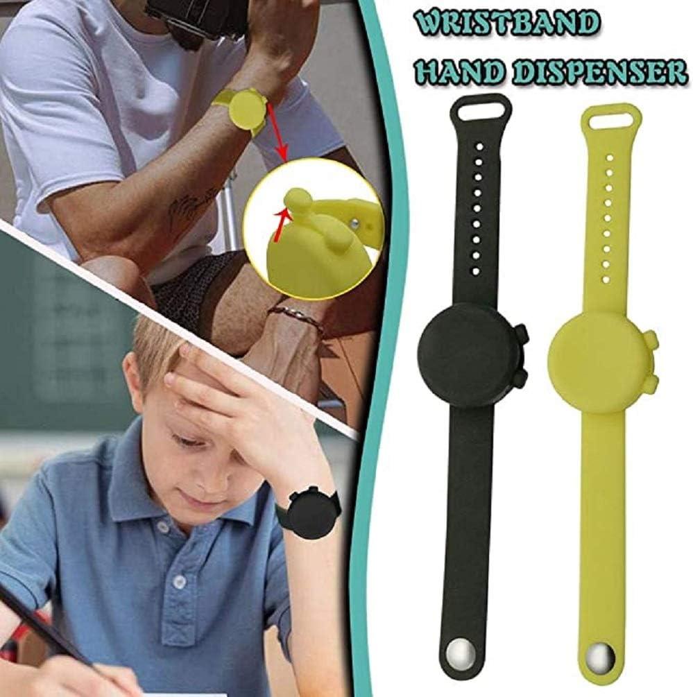 Distributeur de d/ésinfectant pour Les Mains /à Bracelet en Silicone r/églable Distributeur Portable de d/ésinfectant pour Les Mains pour Adultes et Enfants color/é